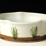 Porcelain Souffle Dish with Marsh Motif